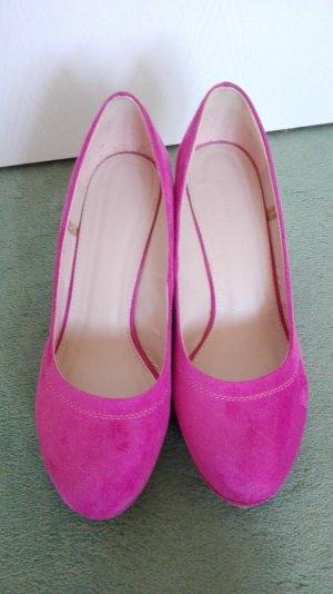 Keilpumps pink, Wildlederoptik