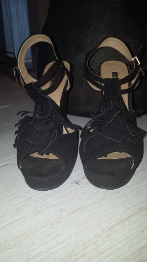 Made in Italy Wedge Sandals black leather