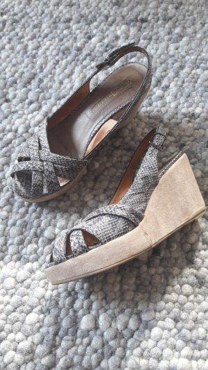 Buffalo London Wedge Sandals grey-beige leather