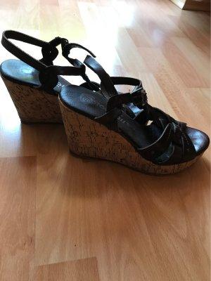 Sandalo con plateau marrone scuro-marrone