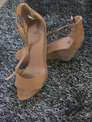 H&M Platform High-Heeled Sandal brown-cognac-coloured