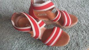 Paul Green Espadrille sandalen baksteenrood Leer