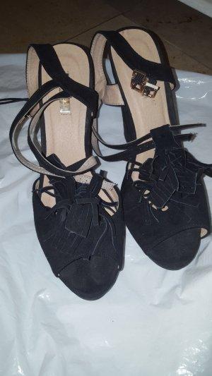 Plateauzool Sandalen met Hoge Hakken zwart