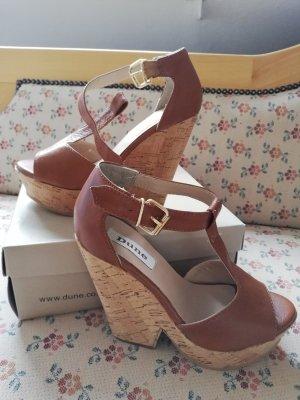 Dune Platform High-Heeled Sandal cognac-coloured leather