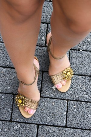 High-Heeled Sandals dark yellow