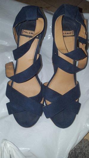 Pull & Bear Wedge Sandals dark blue