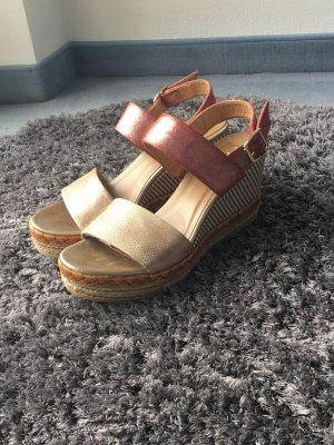 Kanna Wedge Sandals gold-colored-pink
