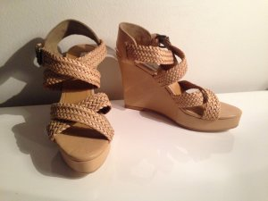 Mango Wedge Sandals nude leather