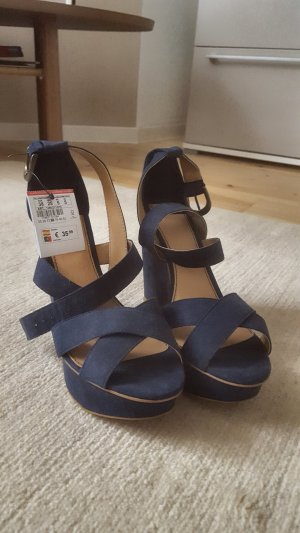 Pull & Bear Wedge Sandals dark blue-cognac-coloured imitation leather