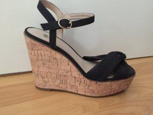 H&M Plateauzool Sandalen met Hoge Hakken zwart-lichtbruin