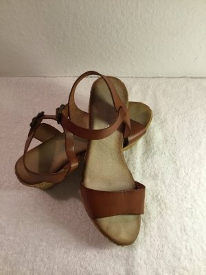 Wedge Sandals cognac-coloured-camel leather