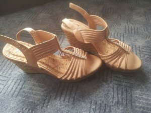 T-Strap Sandals nude synthetic