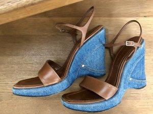 Casadei Platform High-Heeled Sandal cognac-coloured-cornflower blue leather
