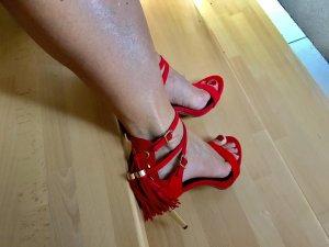 Sandalias de tacón alto color oro-rojo