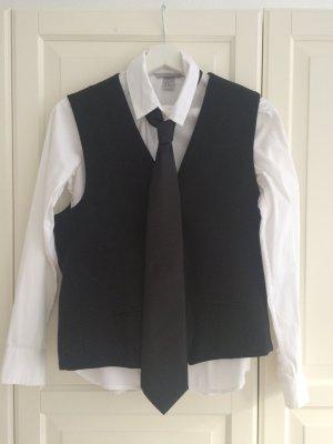 H&M Chaleco de vestir negro-blanco Poliéster