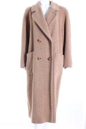 Kemper Cappotto in lana beige-marrone spina di pesce stile casual