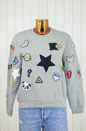 KENGSTAR Damen Sweatshirt Grau Patches Bunt Baumwolle Oversized Gr.XS