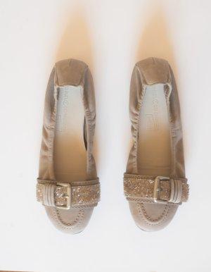 Kennel & Schmenger Ballerina schuhe beige taupe mit Swarovski Strass-Steinen Größe 36
