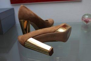 Kennel & Schmenger Damen Pumps beige gold Plateau ca 2,5 cm Absatz 11 cm neu