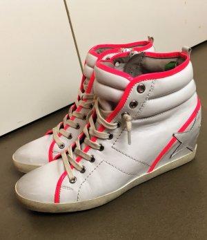 * KENNEL & SCHMENGER * HIGH TOP WEDGES LEDER off-white neon pink Gr UK 6,5 (  40 - 40,5 )