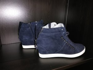 Kennel & Schmenger Hightop Sneakers Town Wedges 38 NEU dunkelblau Nieten Wildleder