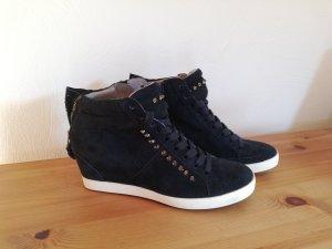 Kennel & Schmenger Hightop Sneakers Town Wedges 38 NEU dunkelblau Nieten Wildleder
