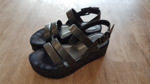 Kennel + schmenger Sandalo con plateau nero Pelle