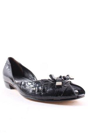 Kennel + schmenger Peeptoe Ballerinas schwarz-silberfarben Glanz-Optik