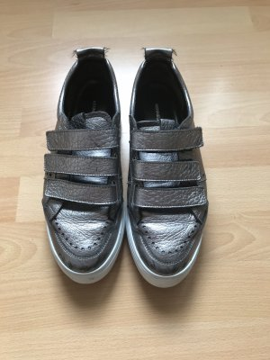 Kennel + schmenger Zapatillas con velcro color plata-blanco