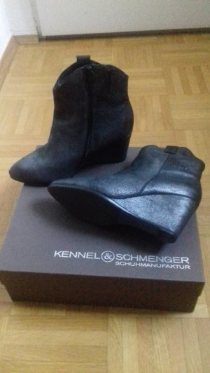 Kennel & Schmenger Stiefeletten Keilabsatz Leder Silver metallic Gr. 4