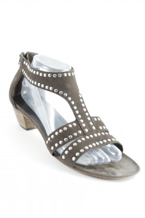 Kennel + schmenger T-Strap Sandals grey brown-silver-colored casual look