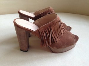 Kennel + schmenger Heel Pantolettes cognac-coloured suede