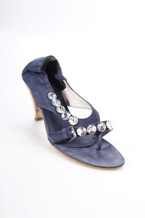 Kennel + schmenger Zehen-Sandaletten blau-silberfarben Party-Look