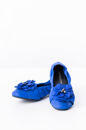 KENNEL UND SCHMENGER - Ballerinas Blitzblau Leder mit Blume