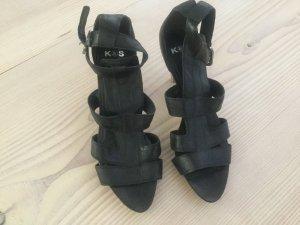 Kennel und Schmenger High Heels Leder schwarz Gr. 7 40,5 Sandalen Pumps Clogs