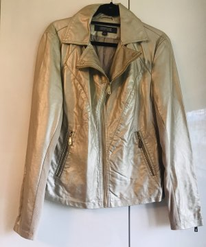 Kenneth Cole Damen Kunstleder Jacke Gold L NEU