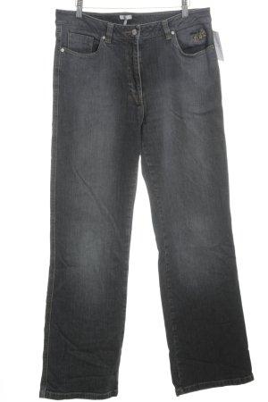 Kenny S. Straight-Leg Jeans dunkelgrau Stickereiverzierung