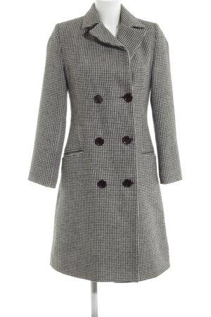 Kenvelo Abrigo de lana negro-blanco estampado repetido sobre toda la superficie