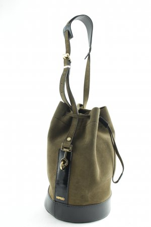 Kenzo Beuteltasche Bike Suede Leather Bucket Bag Tea Green khaki Echtleder Blogger