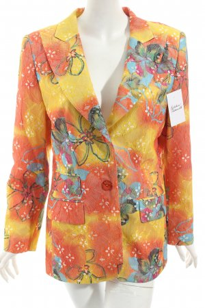 Kenzo Long-Blazer orange-gelb florales Muster extravaganter Stil