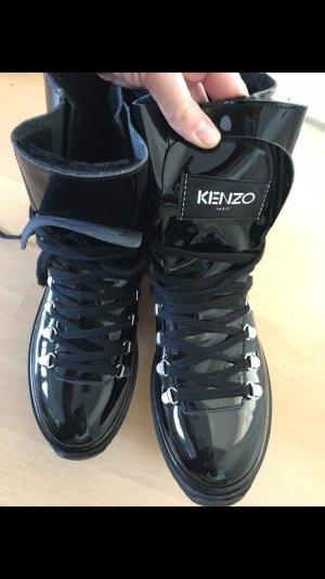 Kenzo Boots Schnürstiefel Lack Patent gefüttert 40 Alaska