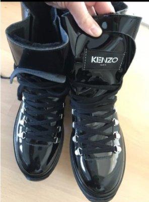 Kenzo Boots Schnürstiefel Lack Patent gefüttert 40 Alaska Stiefelette Booties Ankles