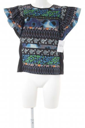 Kenzo H&M Kurzarm-Bluse abstraktes Muster Casual-Look