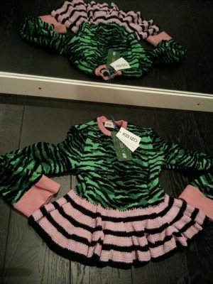 Kenzo H&M Pulli Pullover schwarz grün rosa Strick Zebra Streifen Volant S 36 NEU