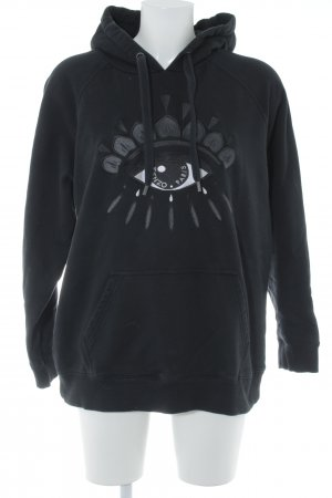 Kenzo Capuchon sweater zwart-wit abstract patroon casual uitstraling