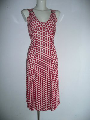 Kenzo Kleid Dress stretchig Cremeweiß + Dots Punkte in Rot S 36