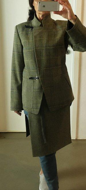 * KENZO * KOSTÜM BLAZER & SCHURZ Wolle Tweed kariert beige grün grau Gr 40 L -VINTAGE