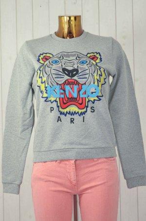 KENZO PARIS Damen Sweatshirt Grau Bunt Tiger Bestickt Baumwolle Rundhals Gr.S