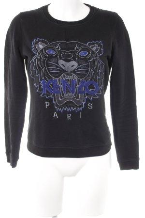 Kenzo Rundhalspullover schwarz-blau Motivdruck Animal-Look
