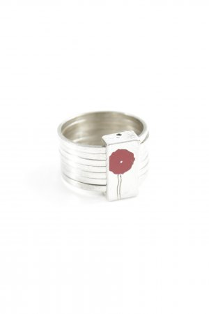 Kenzo Statement ring zilver-donkerrood bloemenprint casual uitstraling
